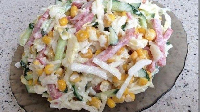 Салат капуста колбаса копчёная