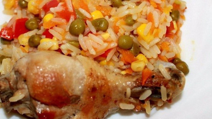 Курица с рисом и овощами рецепт с пошагово замороженными