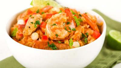 Spicy Cajun jambalaya packed with sausage, shrimp and chicken