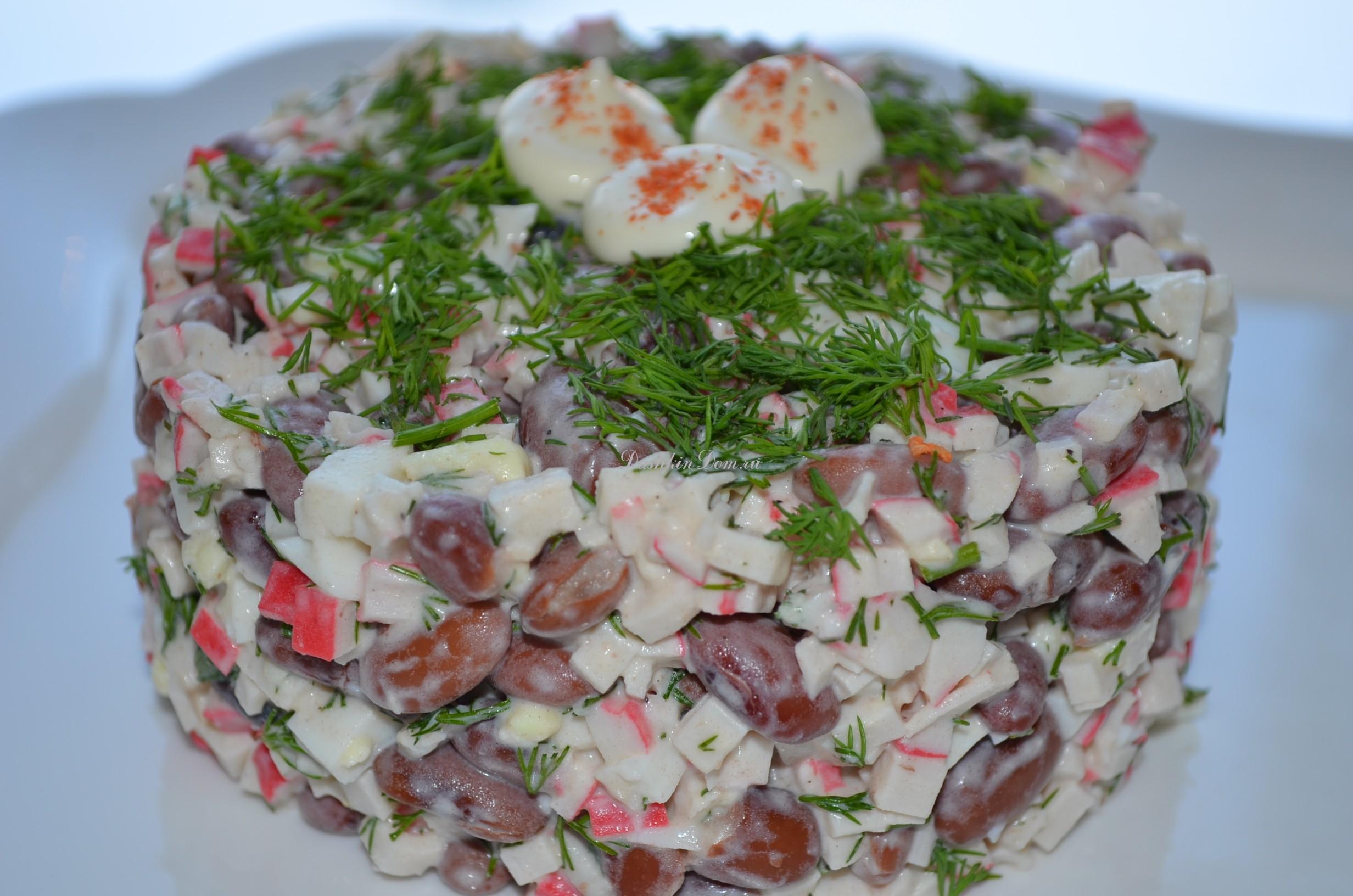 салат из крабов с грибами
