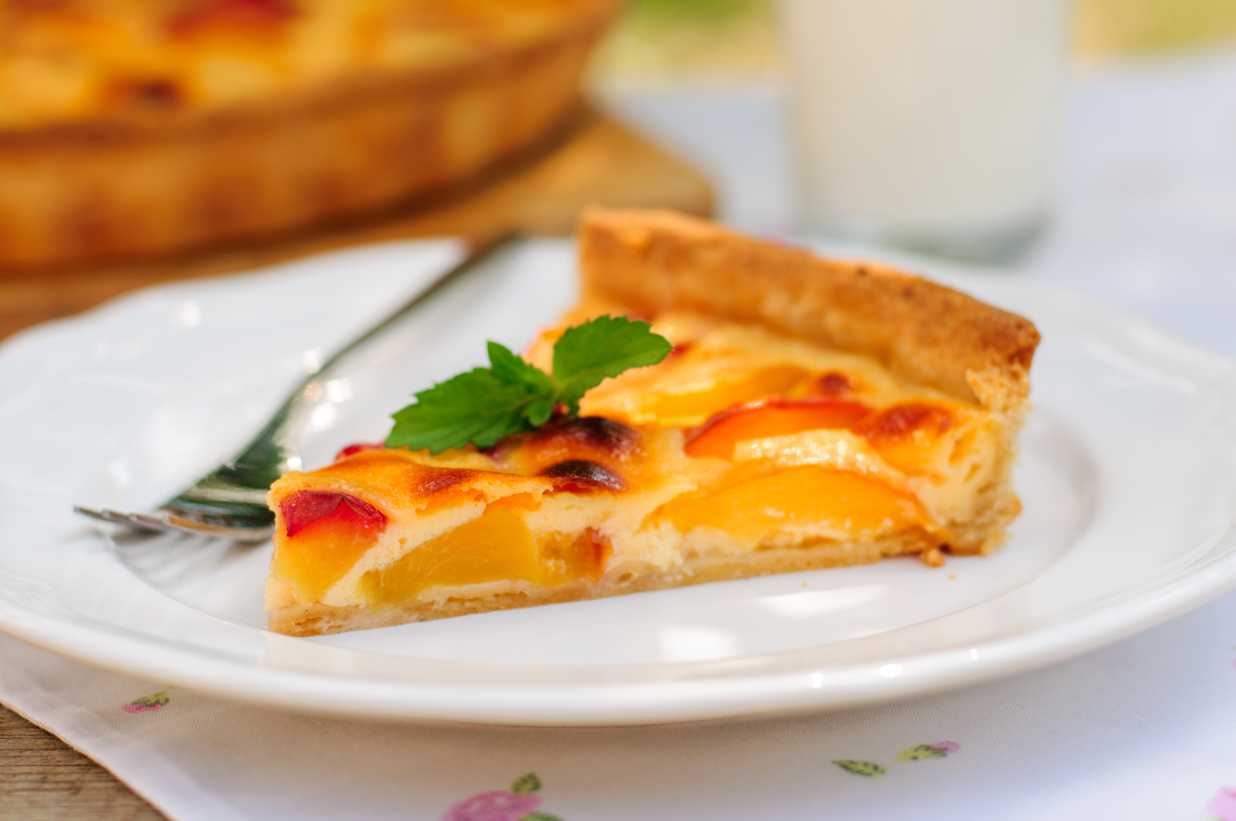 A Slice of Peach and Sour Cream Custard Pie