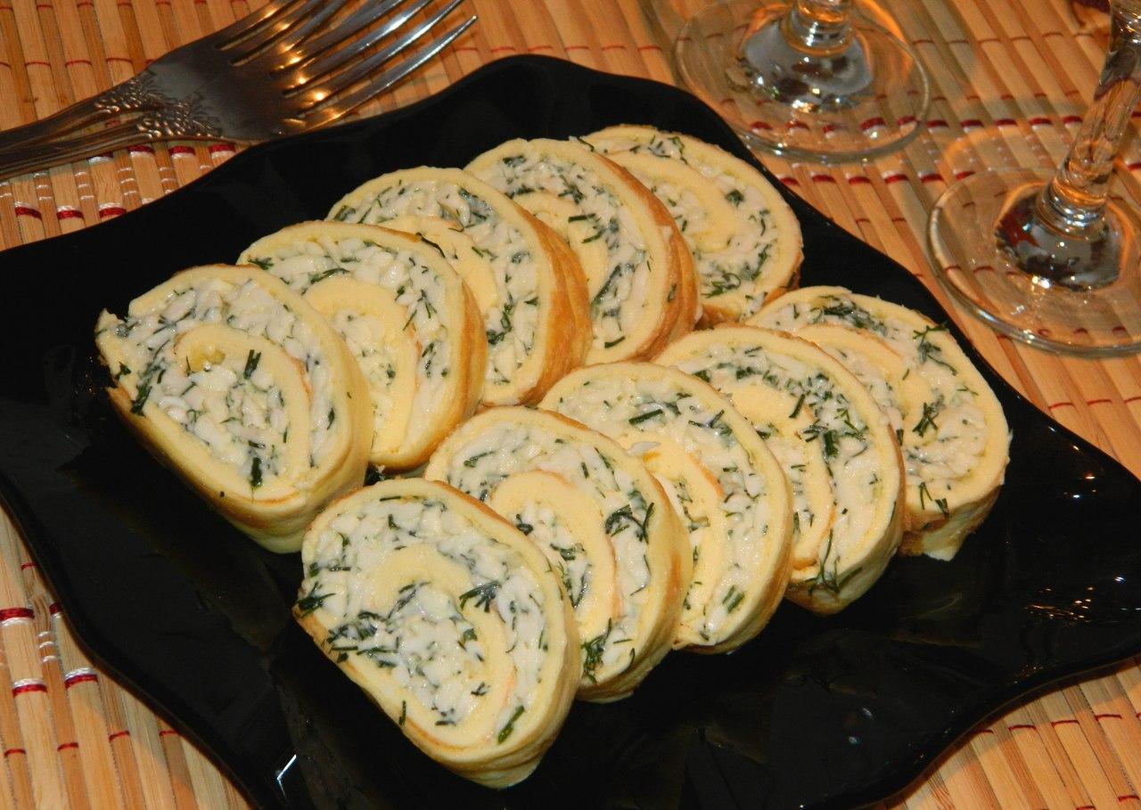 Блинные рулеты с ветчиной и сыром пошаговый рецепт